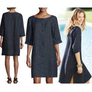Eileen Fisher Linen Button Front Tunic Dress Med